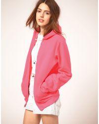 American Apparel | Pink Flouro Hoody | Lyst