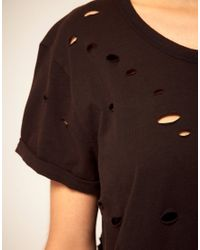 ASOS Collection | Black T-Shirt With Grunge Nibbled Detail | Lyst