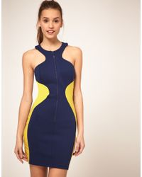 ASOS Collection | Blue Asos Bodycon Dress with Zip Front | Lyst