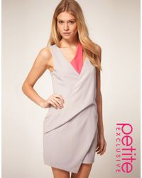 ASOS Collection | Gray Asos Petite Exclusive Mini Dress with Cut Out Strap Detail | Lyst
