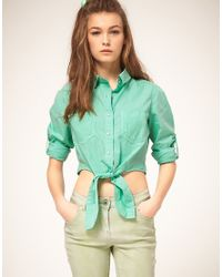 ASOS Collection | Asos Cropped Tie Front Denim Shirt in Mint Green | Lyst