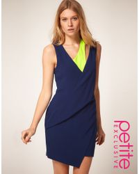 ASOS Collection | Blue Asos Petite Exclusive Mini Dress with Cut Out Strap Detail | Lyst