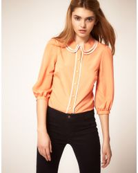 ASOS Collection | Orange Blouse with Double Piped Collar | Lyst