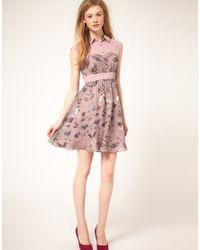 Ted Baker - Purple Curiosity Print Sleeveless Shirt Detail Dress - Lyst