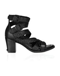 Alexander Wang | Black Christy Textured-leather Sandals | Lyst