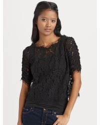 Joie | Black Fanny Cropped and Scalloped Lace Top | Lyst