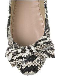 Miu Miu - Gray Bow-embellished Python Ballerina Flats - Lyst