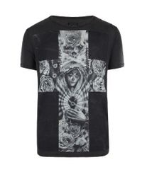 AllSaints - Black Croix S/s Crew for Men - Lyst
