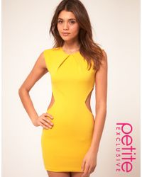 ASOS Collection | Yellow Asos Petite Exclusive Dress with Cut Out Sides and Pleat Neck Detail | Lyst