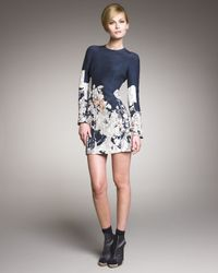 Cacharel | Blue Long-sleeve Printed Dress | Lyst