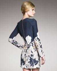 Cacharel - Blue Long-sleeve Printed Dress - Lyst