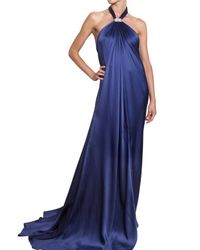 Ferragamo | Blue Jewelled Silk Sable Long Dress | Lyst