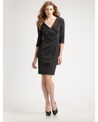Kay Unger - Gray Shawl Collar Dress - Lyst