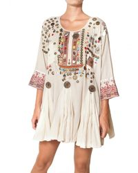 Mes Demoiselles | Natural Folk Embroidered Cotton Gauze Dress | Lyst