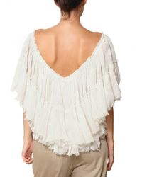 Mes Demoiselles - White Layared Gauze Off The Shoulder Top - Lyst