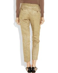 Michael Kors - Cropped Metallic Brocade-crepe Tapered Pants - Lyst