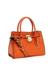 Michael Kors | Hamilton Whipped East West Satchel, Orange | Lyst