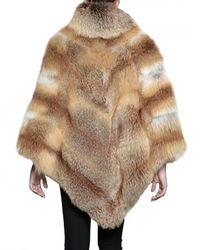 Mr & Mrs Italy | Brown Fox Fur Maxi Poncho Fur Coat | Lyst
