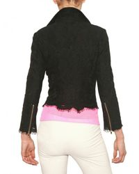 MSGM | Black Cotton Lace Biker Jacket | Lyst