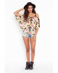 Nasty Gal | Multicolor Floral Batwing Blouse | Lyst
