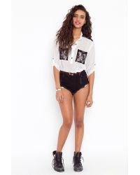 Nasty Gal - White Lace Pocket Blouse - Ivory - Lyst