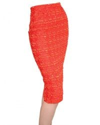 Nina Ricci | Orange Wool and Silk-blend Tweed Pencil Skirt | Lyst