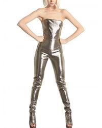 Paco Rabanne | Metallic Lurex On Silk Jumpsuit | Lyst