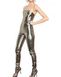 Paco Rabanne - Metallic Lurex On Silk Jumpsuit - Lyst