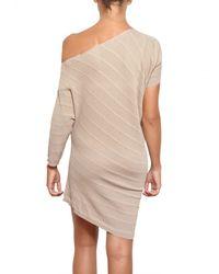 Parronchi - Natural Stretch Ribbed Knit Dress - Lyst