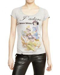 Philipp Plein - Gray Swarovski Jadore Cotton Jersey T-shirt - Lyst