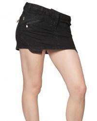 Balmain - Black Denim Stretch Mini Biker Skirt - Lyst