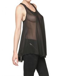 Balmain | Black Sheer Silk Chiffon Tank Top | Lyst