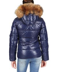 Pyrenex | Blue Racoon Hood Laquer Nylon Down Jacket | Lyst
