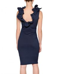 RED Valentino | Blue Structered Thick Jersey Bow Dress | Lyst