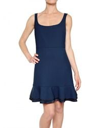 RED Valentino | Blue Structured Cady Back Ruffle Dress | Lyst