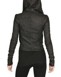 Rick Owens - Black Blister Leather Hooded Biker Jacket - Lyst