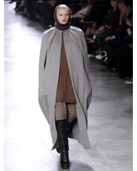 Rick Owens - Gray Boiled Double Cashmere Long Cape Coat - Lyst