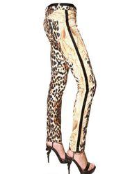 Roberto Cavalli | Multicolor Leopard Print Stretch Drill Jeans | Lyst