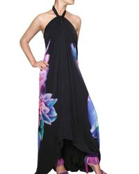 Roberto Cavalli | Black Flower Print Chiffon Long Dress | Lyst