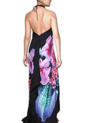 Roberto Cavalli | Black Flower Print Chiffon Long Dress | Lyst