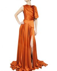 ROKSANDA | Brown Draped Silk Satin Dress | Lyst