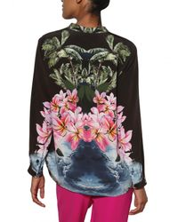 Stella McCartney | Black Hibiscus Print Silk Crepe De Chine Shirt | Lyst