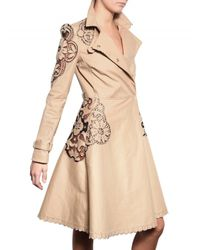 Valentino | Natural Embroidered Light Weight Trench Coat | Lyst