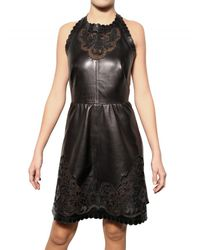 Valentino - Black Perforated Nappa Dress - Lyst
