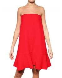 Valentino - Red Silk Crepe Cady Dress - Lyst