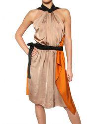 Vionnet | Metallic Draped Viscose Satin Dress | Lyst
