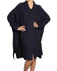 Vionnet - Blue Silk Viscose Crepe Jersey A-line Coat - Lyst