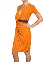 Vionnet | Yellow Draped Double Georgette Stretch Dress | Lyst