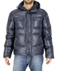 Add | Blue Ultra Light Shiny Nylon Hooded Down Jacket for Men | Lyst