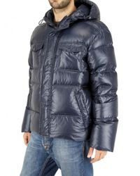 Add - Blue Ultra Light Shiny Nylon Hooded Down Jacket for Men - Lyst